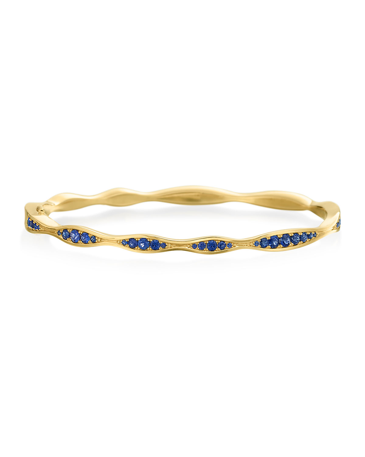 MARIA CANALE 18K Gold Blue Sapphire Wave Hinged Bangle