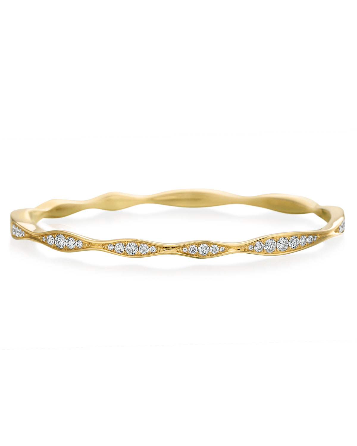 MARIA CANALE 18K Gold Half Diamond Wave Bangle