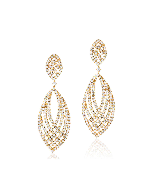 18k Gold & Diamond Pave Drop Earrings