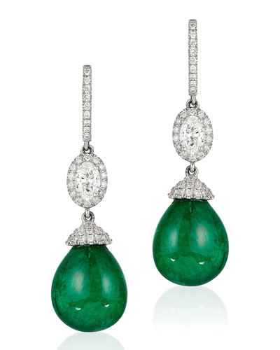 Quick Look Andreoli 18k White Gold Emerald Diamond Drop Earrings