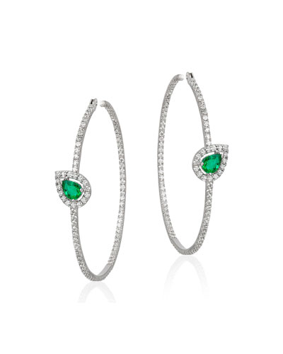 18k White Gold, Emerald & Diamond Hoop Earrings