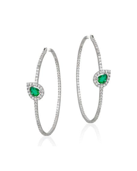 Andreoli 18k White Gold, Emerald & Diamond Hoop Earrings