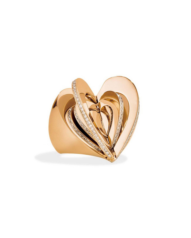 18k Rose Gold Diamond Heart Ring