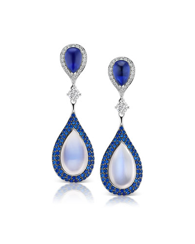 18k White Gold Diamond, Sapphire & Moonstone Earrings