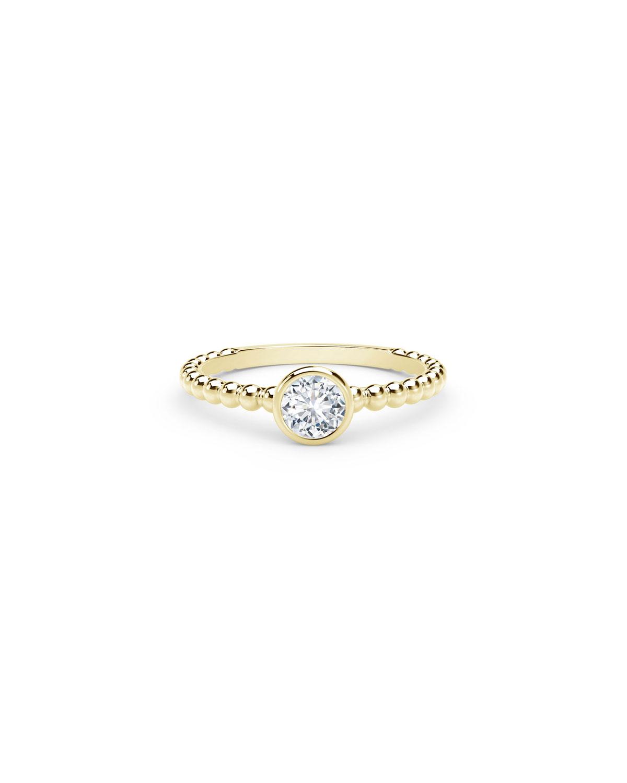 18K Yellow Gold Beaded-Shank Round Diamond Engagement Ring