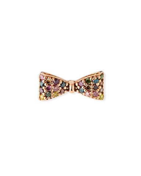 Stevie Wren 14k Rose Gold Rainbow Diamond Bow Earring (Single)
