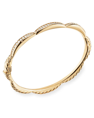 Tides 18k Gold Triple Diamond Station Bangle, Size M