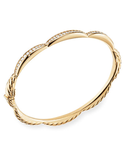 Tides 18k Gold Triple Diamond Station Bangle, Size S