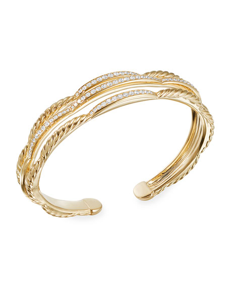 David Yurman Tides 18k Gold 3-Row Diamond Cuff Bracelet, Size S