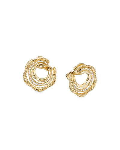 Tides 18k Gold Diamond Huggie Hoop Earrings