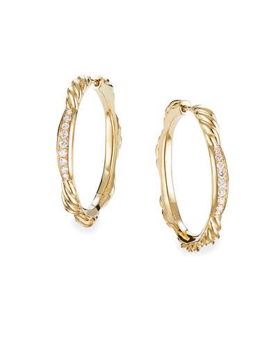 Tides 18k Gold Diamond Hoop Earrings