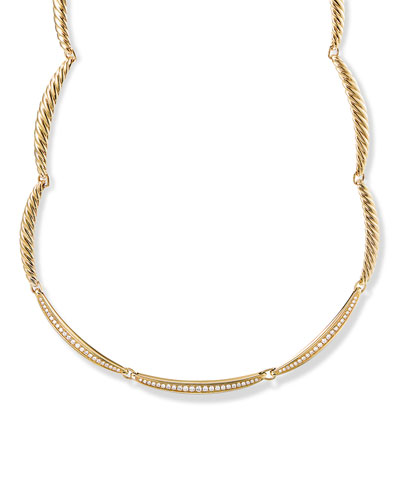 Tides 18k Curved Diamond Pave Necklace