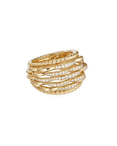 Tides 18k Gold Woven Diamond Ring, Size 5
