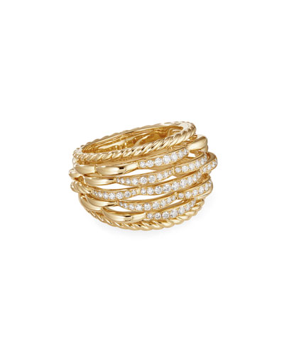 Tides 18k Gold Woven Diamond Ring, Size 7