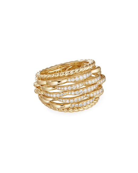 David Yurman Tides 18k Gold Woven Diamond Ring, Size 7