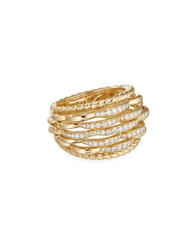 Tides 18k Gold Woven Diamond Ring, Size 8