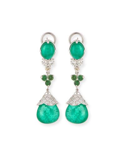 18k White Gold Emerald & Tsavorite Drop Earrings
