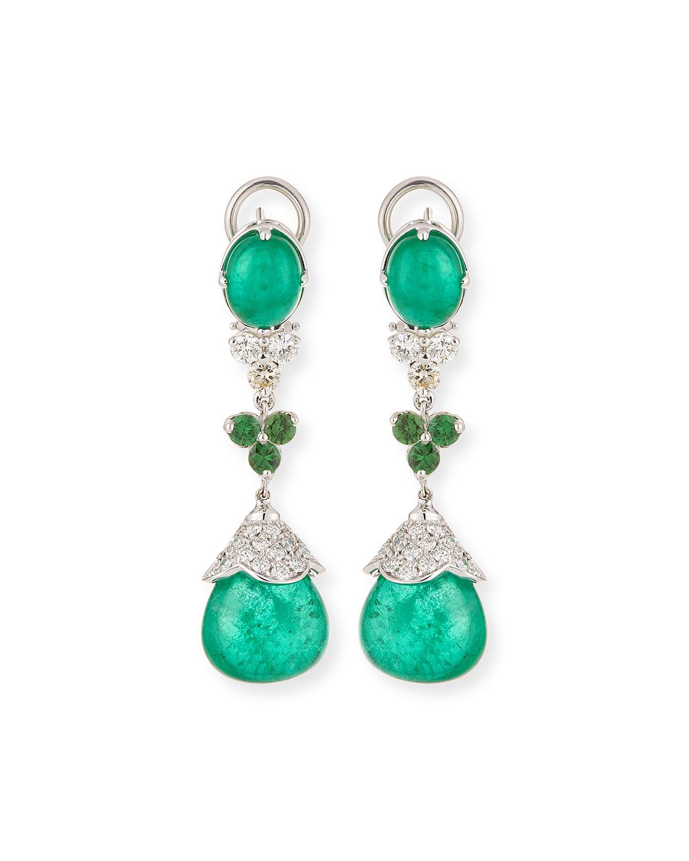 ANDREOLI 18K White Gold Emerald & Tsavorite Drop Earrings