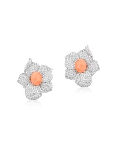 18k White Gold, Diamond & Coral Flower Earrings