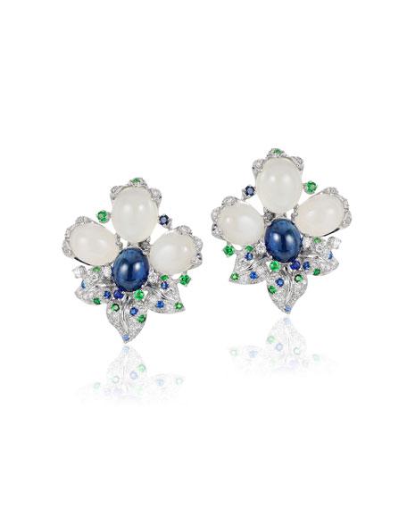 Andreoli 18k White Gold, Diamond & Mixed Stone Earrings
