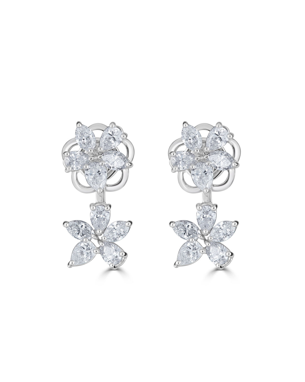 Zydo LUMINAL 18K WHITE GOLD DIAMOND FLOWER EARRINGS