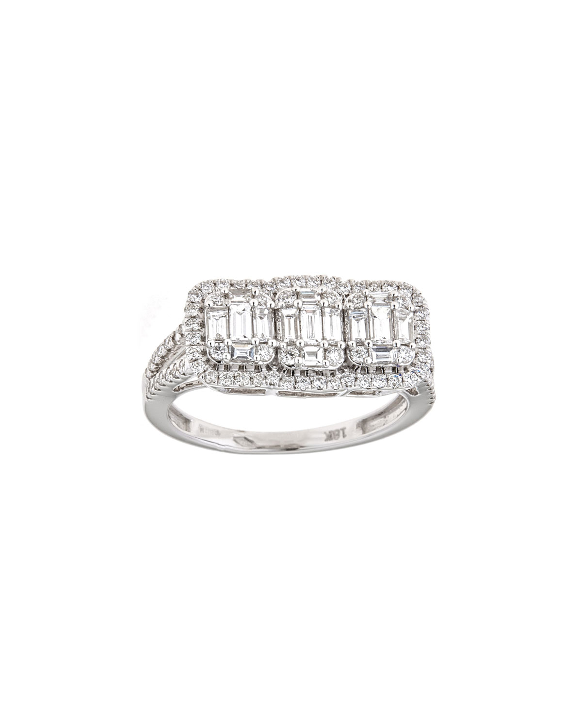 ZYDO Mosaic 18K White Gold Diamond Trio & Outline Ring
