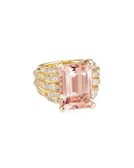 David Yurman Tides 18k Gold Diamond & Morganite Wide Ring, Size 6