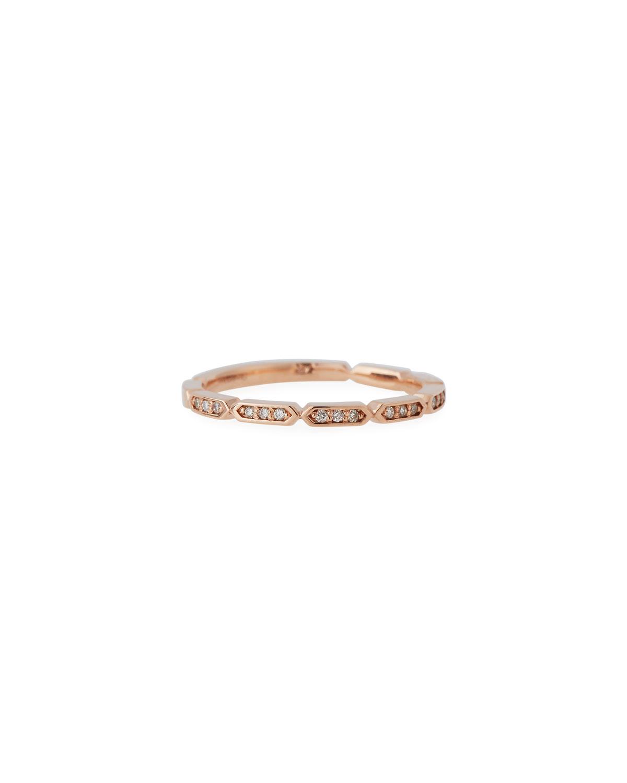 STEVIE WREN 14K Rose Gold Diamond Geo Stack Ring, Size 7