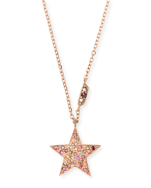 STEVIE WREN 14K Rose Gold Pink Diamond Star Pendant Necklace