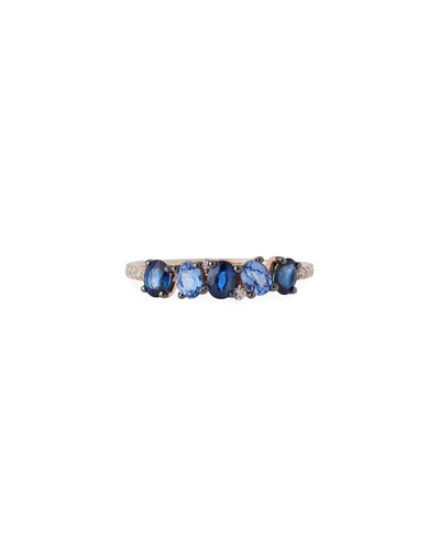 14k Rose Gold Blue Sapphire & Diamond Ring, Size 7