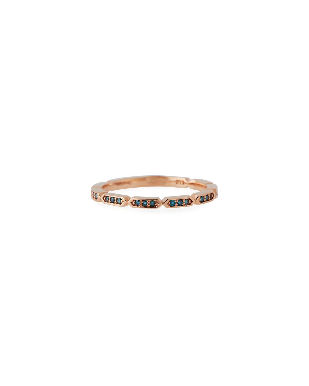 STEVIE WREN 14K Rose Gold Blue Diamond Geo Stack Ring, Size 7