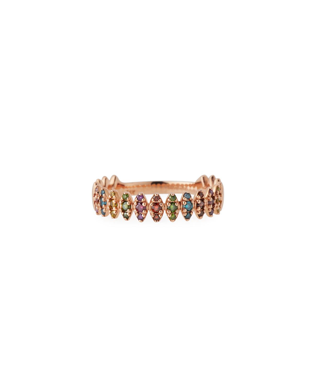 STEVIE WREN 14K Rose Gold Rainbow Diamond Zigzag Ring, Size 7