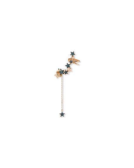 Stevie Wren 14k Rose Gold Blue Diamond Star Ear Cuff / Dangle Back, single