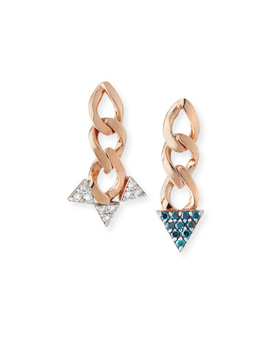14k Rose Gold Mismatch Diamond Spike Earrings