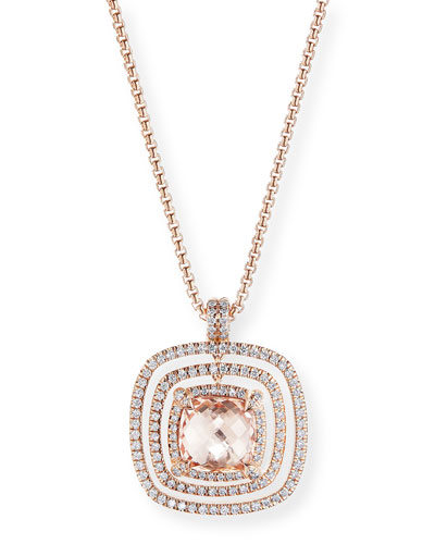 Chatelaine 18k Rose Gold Morganite & Diamond Necklace