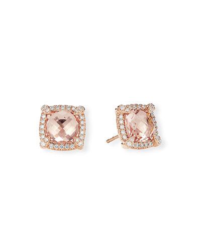 Chatelaine 18k Rose Gold Morganite Stud Earrings