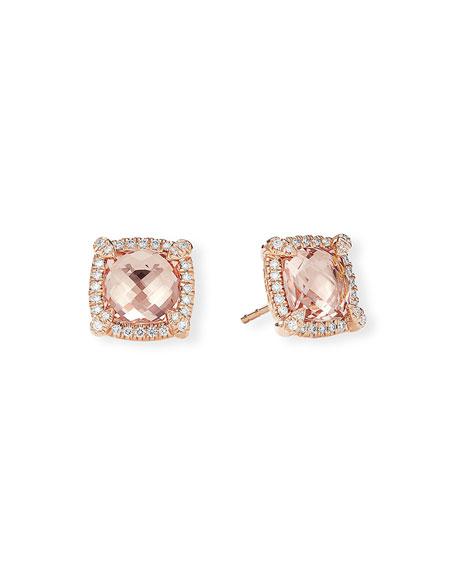 David Yurman Chatelaine 18k Rose Gold Morganite Stud Earrings