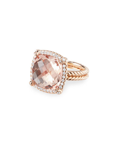 Chatelaine 18k Rose Gold 14mm Morganite Ring, Size 5