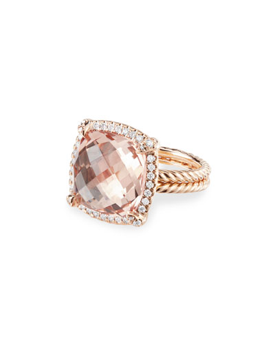 Chatelaine 18k Rose Gold 14mm Morganite Ring, Size 8