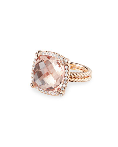 Chatelaine 18k Rose Gold 14mm Morganite Ring, Size 7