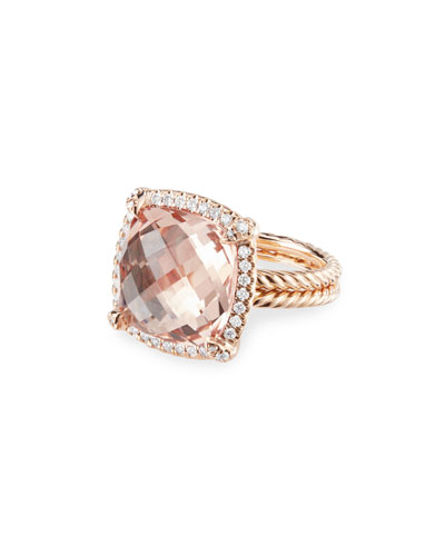 Chatelaine 18k Rose Gold 14mm Morganite Ring, Size 9