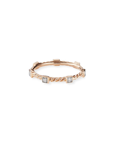 Cable Collectibles Stacking Band Ring w/ Diamonds in 18k Rose Gold, Size 6
