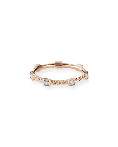 Cable Collectibles Stacking Band Ring w/ Diamonds in 18k Rose Gold, Size 7