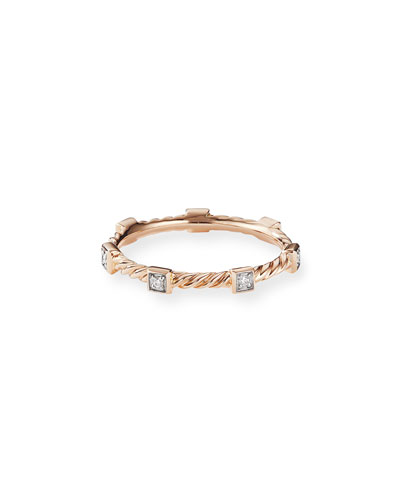 Cable Collectibles Stacking Band Ring w/ Diamonds in 18k Rose Gold, Size 5