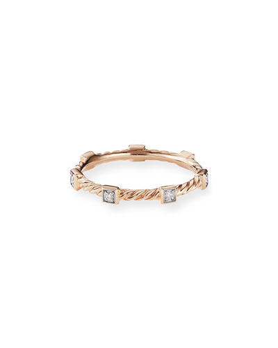 Cable Collectibles Stacking Band Ring w/ Diamonds in 18k Rose Gold, Size 8