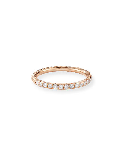 Cable Collectibles Pave Diamond Band Ring in 18K Rose Gold, Size 8