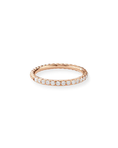 Cable Collectibles Pave Diamond Band Ring in 18K Rose Gold, Size 5