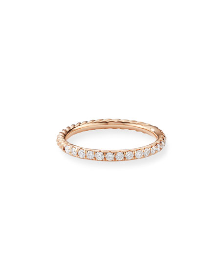 David Yurman Cable Collectibles Pave Diamond Band Ring in 18K Rose Gold, Size 7