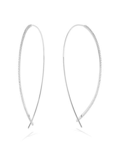 Quick Look Lana 14k White Gold Large Upside Down Skinny Diamond Hoop Earrings