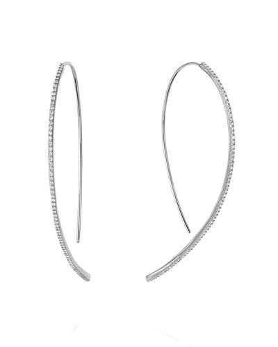 6003d267f Quick Look. LANA · 14k White Gold Skinny Hooked Diamond Hoop Earrings